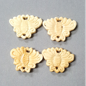 BONE BUTTERFLY 25X32MM IVORY(4PCS/BAG)