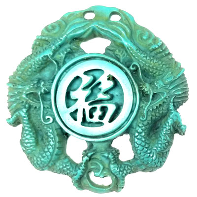 TREE RESIN DRAGON WITH LUCKY SIGN 70MM TURQUOISE
