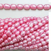 FRESHWATER PEARL RICE 5X7-5X10MM PINK (10 strs)