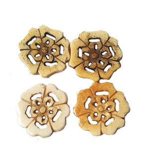 BONE FLOWER 27MM ANTIQUE (4PCS/BAG)