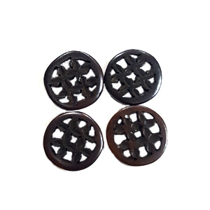 BONE CIRCLE 25MM BROWN (4PCS/BAG)