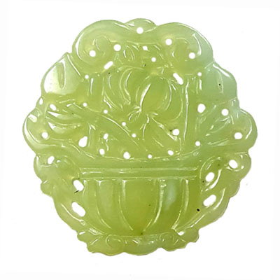 HSIU JADE BASKET 56X58MM GREEN PENDANT