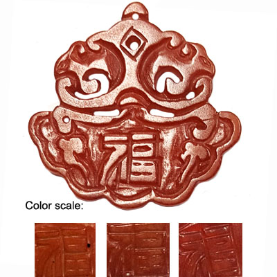 HSIU JADE GOOD FORTUNE 55X55MM RED PENDANY