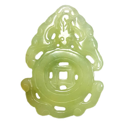 HSIU JADE LUCKY MONEY 40X58MM GREEN PENDANT