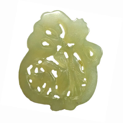 HSIU JADE OLD MAN THROWING SHEEP 50X60MM GREEN PENDANT