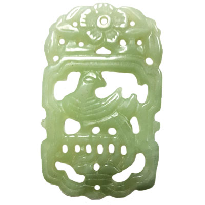 HSIU JADE BIRD ON BIRDCAGE 40X60MM GREEN PENDANT
