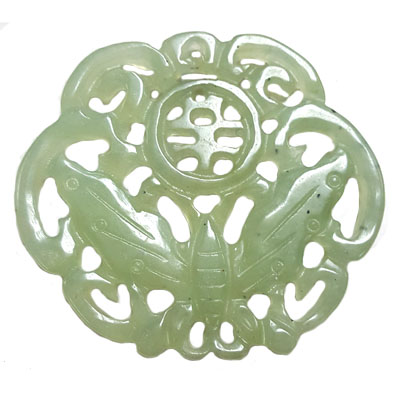 HSIU JADE BUTTERFLY 50X58MM GREEN PENDANT