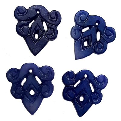 JADE SMALL PENDANT LUCKY 24X28MM BLUE (4 PCS)